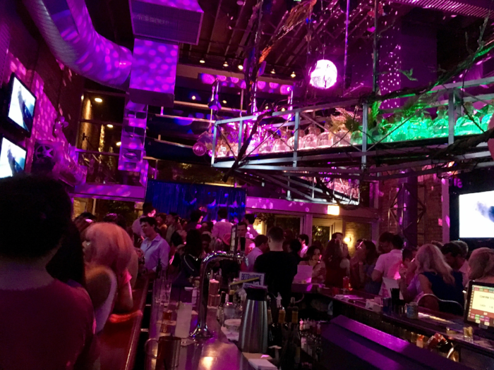 Pink lights at Sidetrack Bar added to the evening's festivities