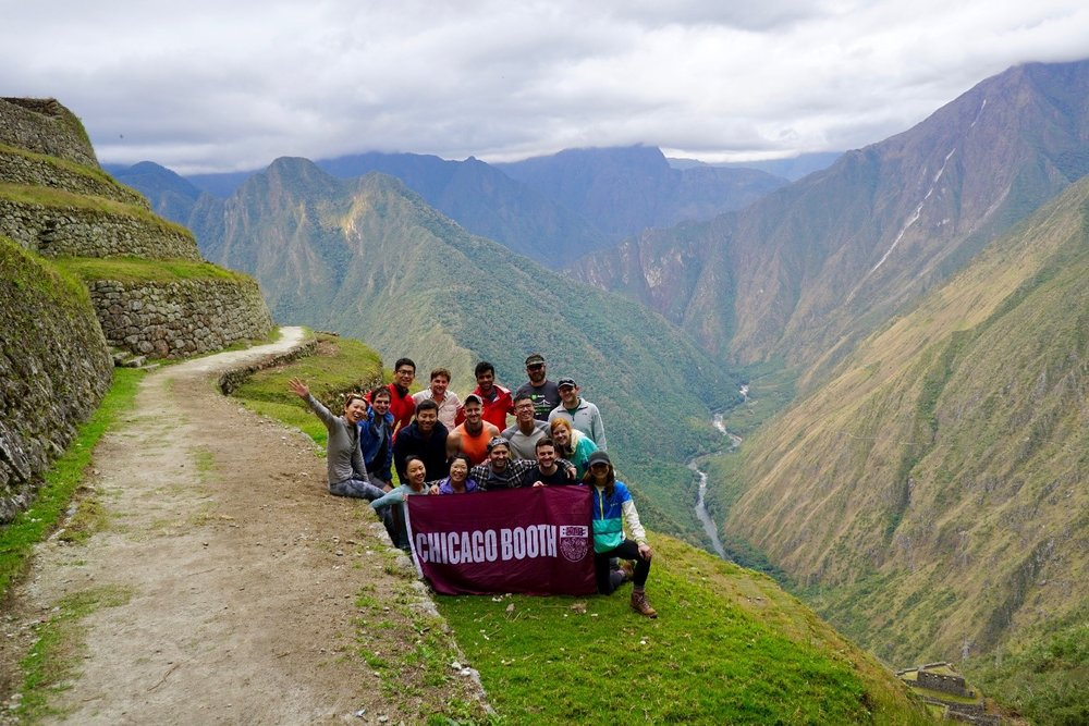 One of the countless group photos in front of the beautiful landscapes of Peru