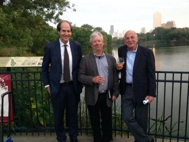 Left: Thaler and co-author and long-time friend, Cass Sunstein, discuss  Nudge , at their favorite lunch spot where the book was born, Noodles Etc. in Hyde Park. Right: Sunstein, Thaler, and Kahneman at an event in honor of Thaler in 2015. Source: @CassSunstein (Right)