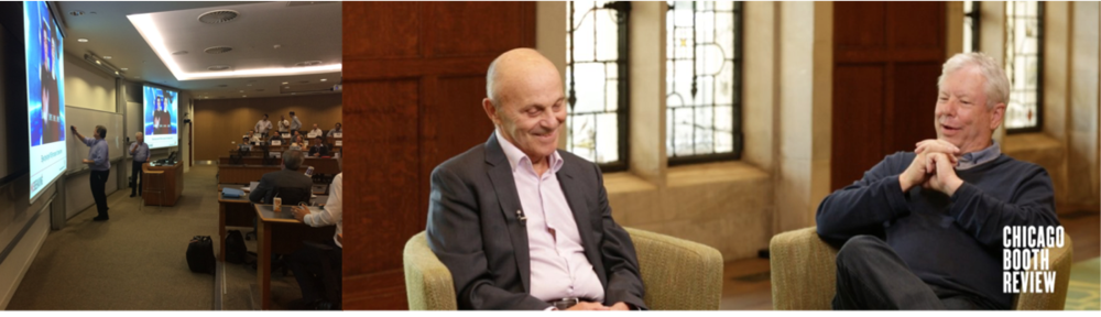 Left: Thaler and Professor Mike Gibbs battle in class over traditional economics vs behavioral economics. Right: Thaler and fellow Nobel prize winner Eugene Fama continue to debate, but with great respect for one another, and many debates take place on the golf course. Thaler has discussed in interviews that, despite shaking up the field, he still believes traditional economics provides a useful normative perspective. Sources: Linnea Gandhi (left) and Chicago Booth Review (right)