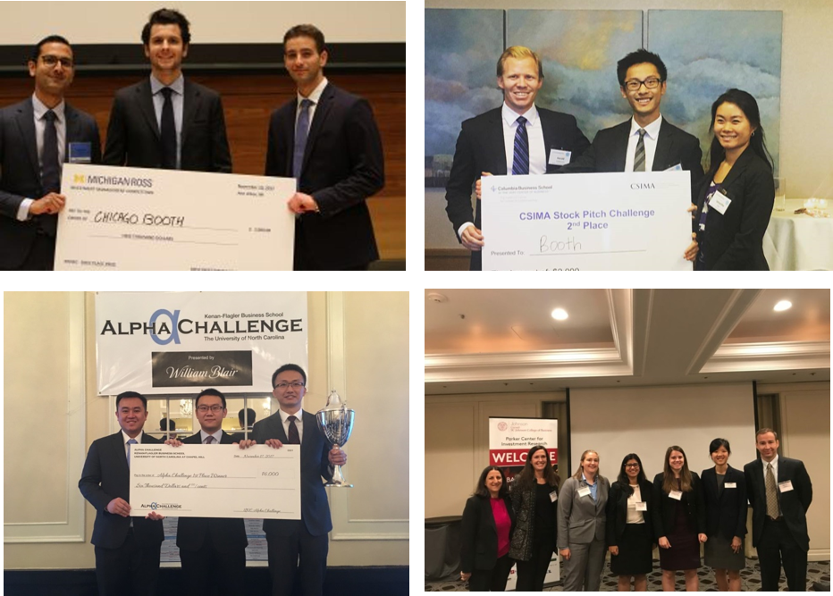 (From the top L-R) Ankush S, Diego G, and Lior S at the Ross MBA Stock Pitch Competition;  Samantha X, Yan Z, and Harald H at the CSIMA Stock Pitch Challenge;  David W, Mohan R, and Tingliang G at the UNC Kenan-Flagler Alpha Challenge;  Riddhima H, Caitlyn G, and Angela Z at the Cornell Women MBA Investing Conference