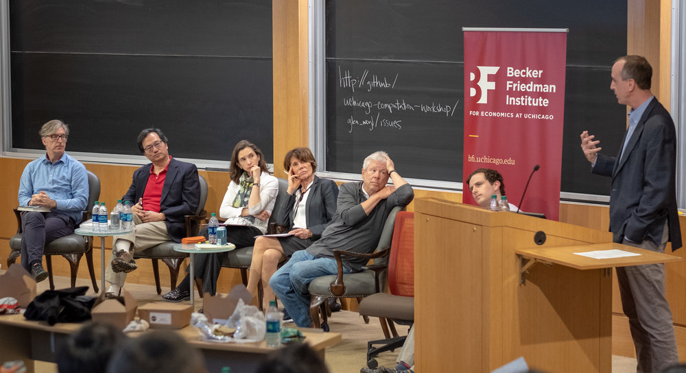 One of the authors, Professor Eric Posner, responds to criticisms from the panel about the concepts presented in Radical Markets. From left: Professors Steve Levitt, Andrew Chien, Jennifer Pitts, Karin Knorr Cetina, and Richard Thaler, and authors Glen Weyl and Eric Posner.