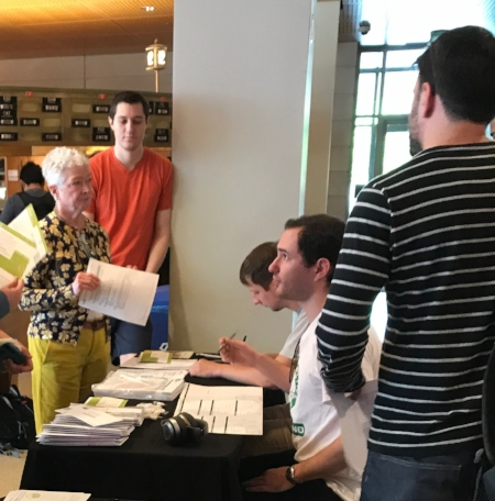 From left, Melissa Williams from Be The Match and Ryan Witte, '19, a Leukemia survivor and bone marrow transplant recipient, look on as Nick Evens and Max Tabb sign up potential donors to the bone marrow registry. Registering comes with no obligations, but could give you the opportunity to save a life.