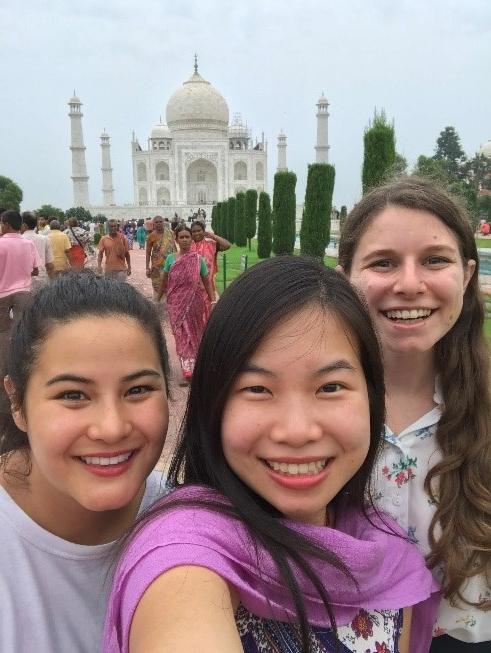 Customary Taj Mahal snap of the Author with Julia Wong and Madeline Vuong.