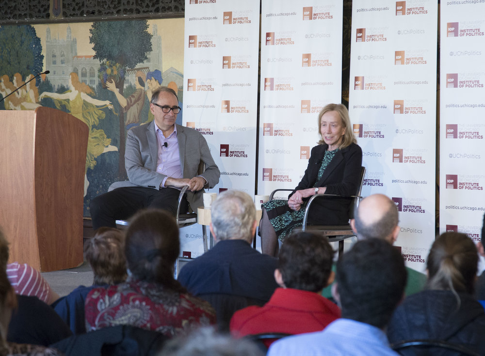 Photo courtesy of the Institute of Politics.   David Axelrod (left) and Doris Kearns Goodwin discuss leadership and life lessons from four of America's presidents at Ida Noyes Hall on October 31
