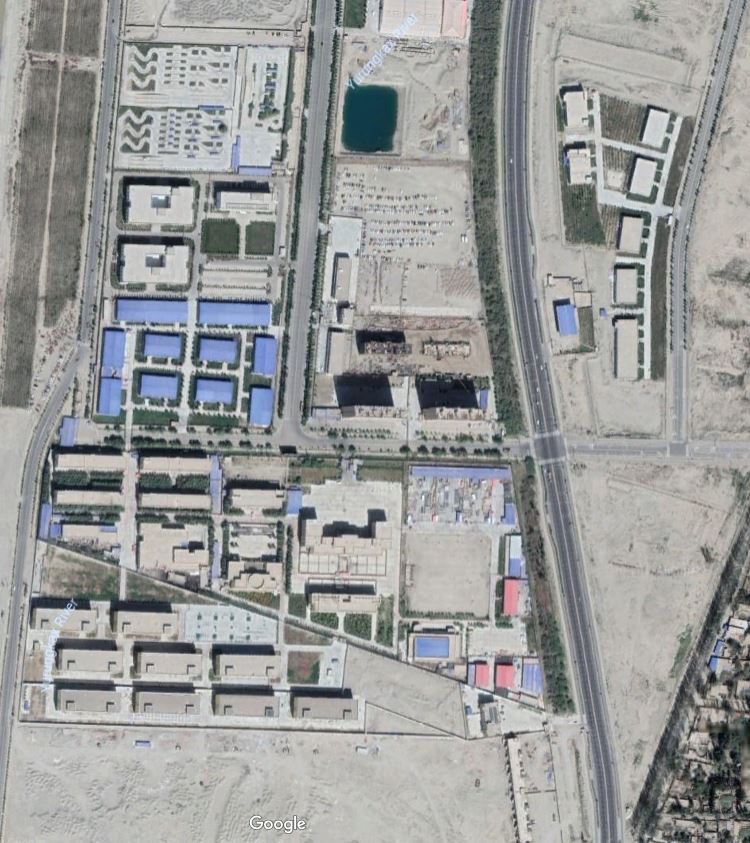 A satellite image of one of the internment camps in Western China. Coordinates: 37.130112, 79.971045. The massive camp construction efforts have been confirmed through a significant increase in requests for contracting proposals, with requirements similar to that of prisons, as well as satellite images showing the newly-constructed camps popping up across Xinjiang province.   Image sourced from Google Earth