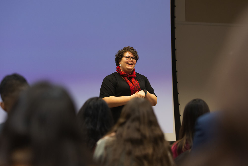 Amy Altchuler, ('19) speaking at Booth Stories: Gratitude in Fall 2018