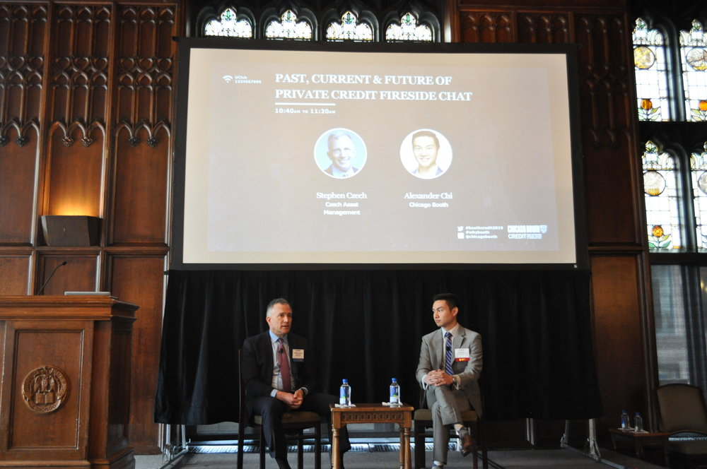 Steve Czech (Booth Alumn) & Alex Chi (2019) conduct a Private Credit Fireside Chat