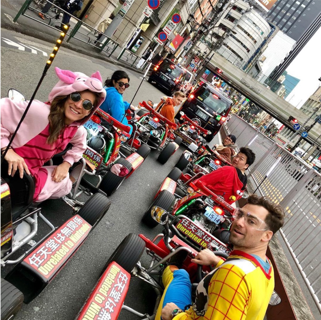 Booth students in all their Maricar finery right before they zoom off in go-karts
