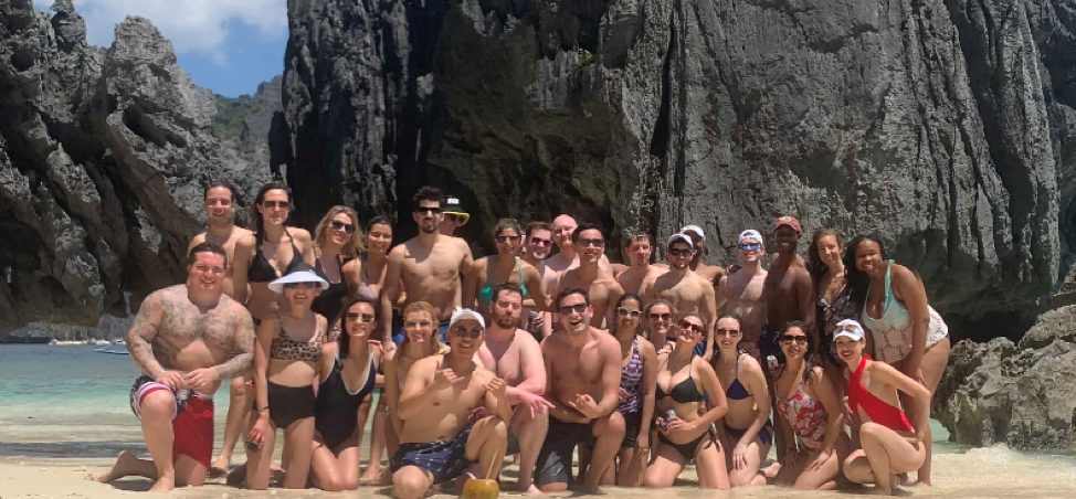 The group basks in the sun in El Nido