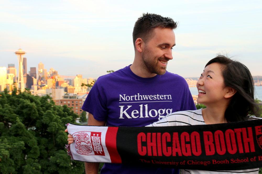 Michelle Kim and Dave Menacher celebrate their business school acceptance