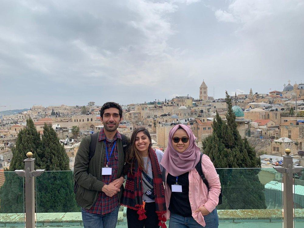 Haroun Dada, Kiran Palla and Zata Zulkiply in Jerusalem