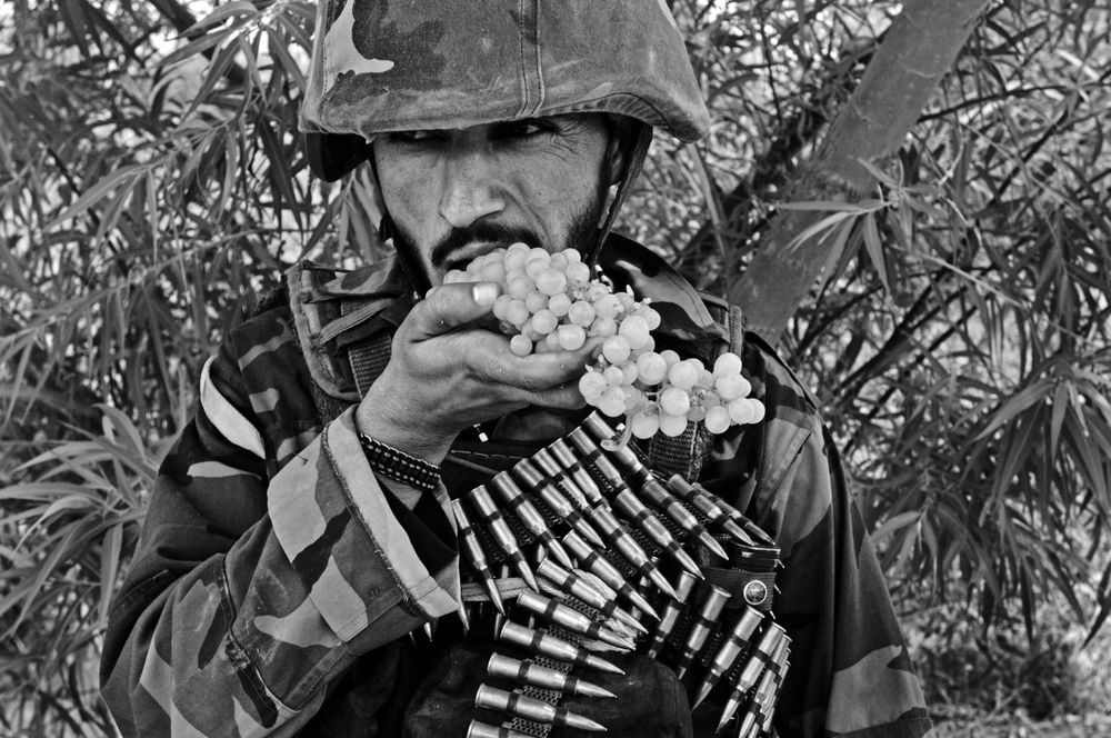 An Afghan soldier eats grapes during a patrol in the Zhari District, Kandahar Province, Afghanistan. July 12, 2008   ©Louie Palu/ZUMAPRESS.com