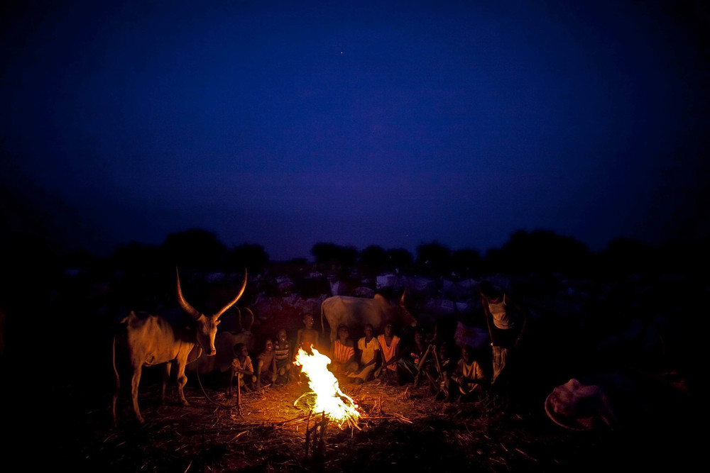 Young children from South Sudan's largest tribe, the Dinka, sit around a fire at a remote cattle camp in the central state of Warrap. Large segments of the southern population are pastoralist and live a semi-nomadic existence. Their identity is ruggedly independent and difficult to modify given their lack of participation in formal education. Sudan 2012 © Pete Muller