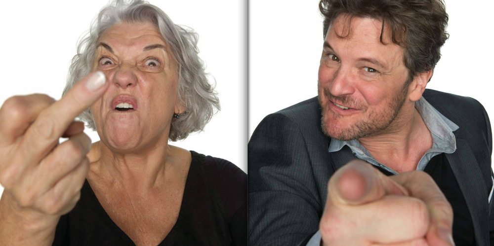 "Left: Tyne Daly, photographed in New York City, August 2011. ""Youre a stand-up comedienne, completely abandoning any kind of clever response to a heckler."" Right: Colin Firth, photographed in New York City, April 2008. ""You're a one-night-stand specialist, in a restaurant, bumping into a woman you slept with a couple weeks ago and have mostly forgotten already, trying--and failing--to put a name to the face: Oh, hi...you!""  © Howard Schatz and Beverly Ornstein"