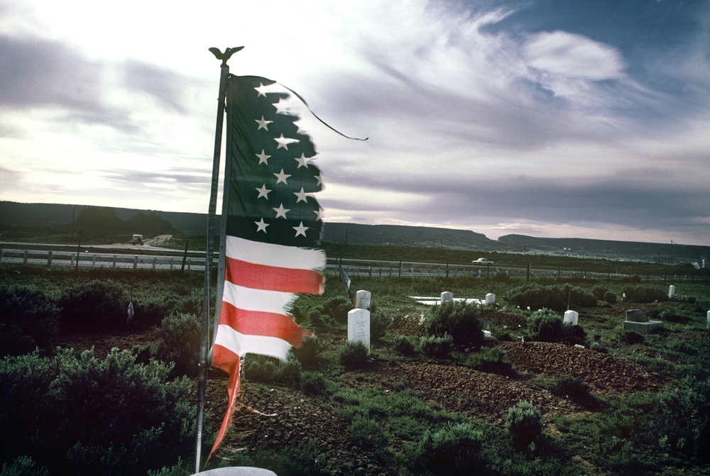 Navajo Veterans Cemetery in Fort Defiance, AZ. The soldiers from the Navajo Tribe that died in World War I, World War II, the Korean and Vietnam wars are buried here. May, 1985 © Jean-Pierre Laffont