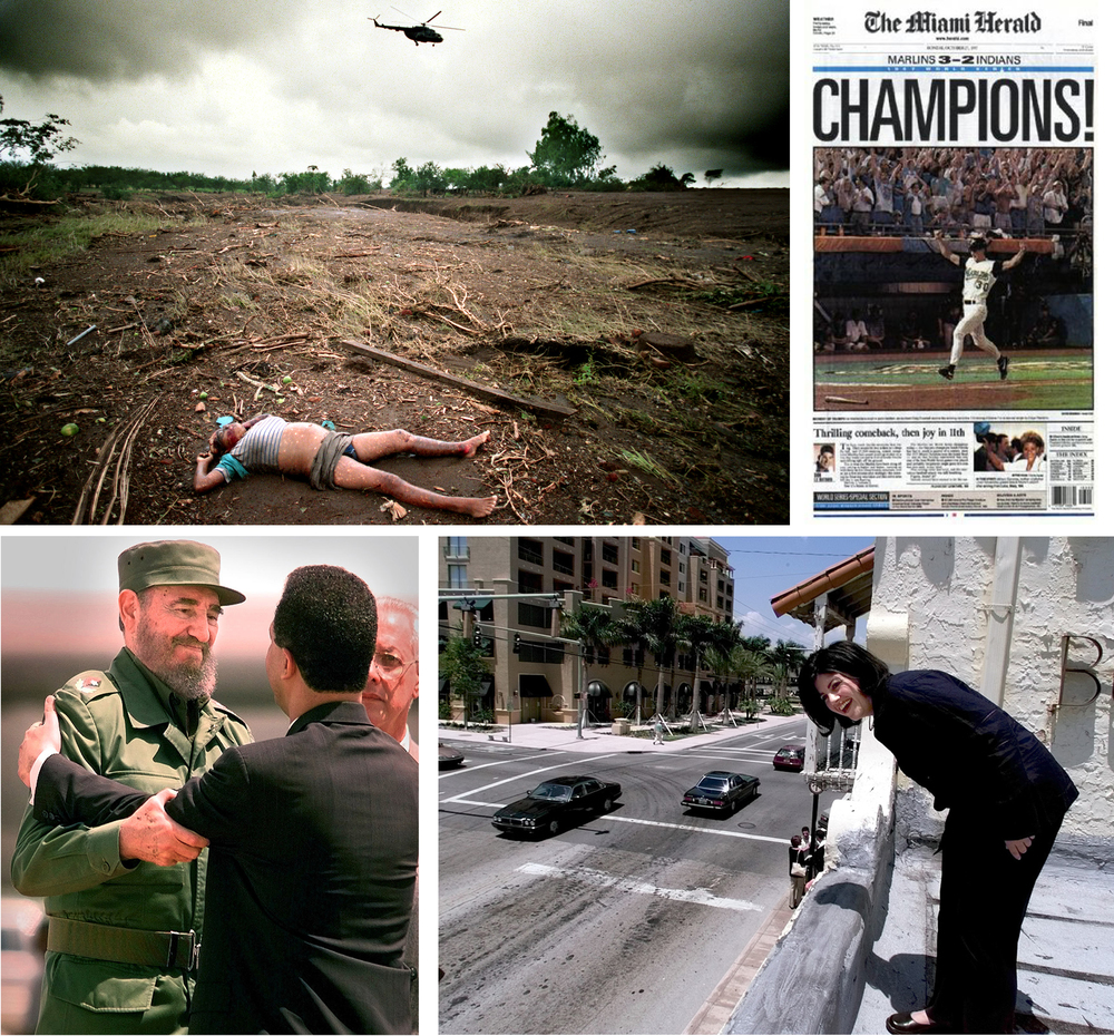 Clockwise from top left: Hurricane Mitch in Nicaragua 1998, Marlins win the World Series 1997, Monica Lewinsky 1999 & Fidel Castro 1998. © David Bergman/Miami Herald