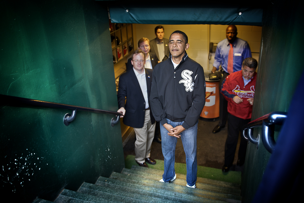 Behind the scenes with President Barack Obama before the All-Star Game at Busch Stadium in St. Louis. July 14, 2009 © David Bergman