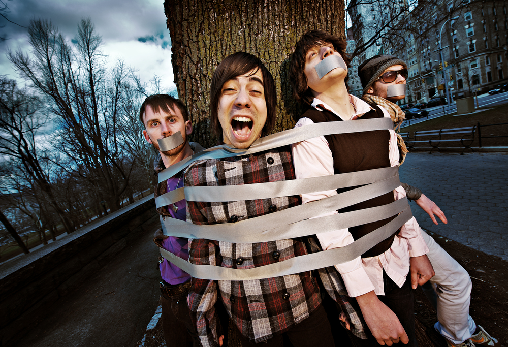 Members of the band Armor For Sleep pose for a portrait in New York. March 20, 2008 © David Bergman