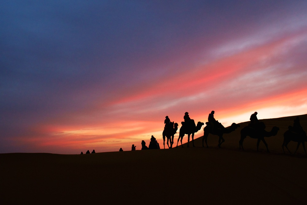 Travel: A tour group ventures into the Sahara Desert for an overnight camping trip in Morocco. © Sol Neelman