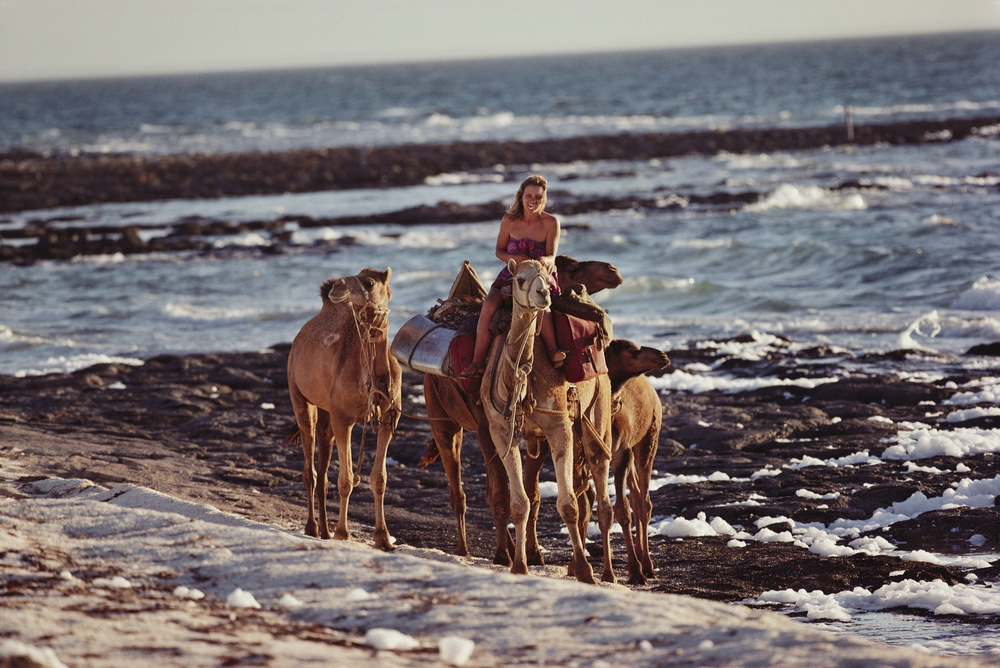 After nine months and 2700 arduous kilometers, it was late afternoon on a perfect day when Robyn and the camels had their first glimpse of the Indian Ocean. The camels had never seen any body of water bigger than a puddle and their eyes bulged at the infinite expanse in front of them. Their arrival marked the end of an extraordinary odyssey.   © Rick Smolan/Against All Odds Productions