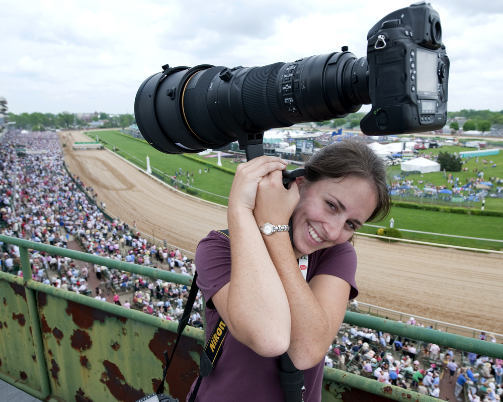 Laura Heald on the roof at Churchill Downs. © Bill Frakes/Straw Hat Visuals