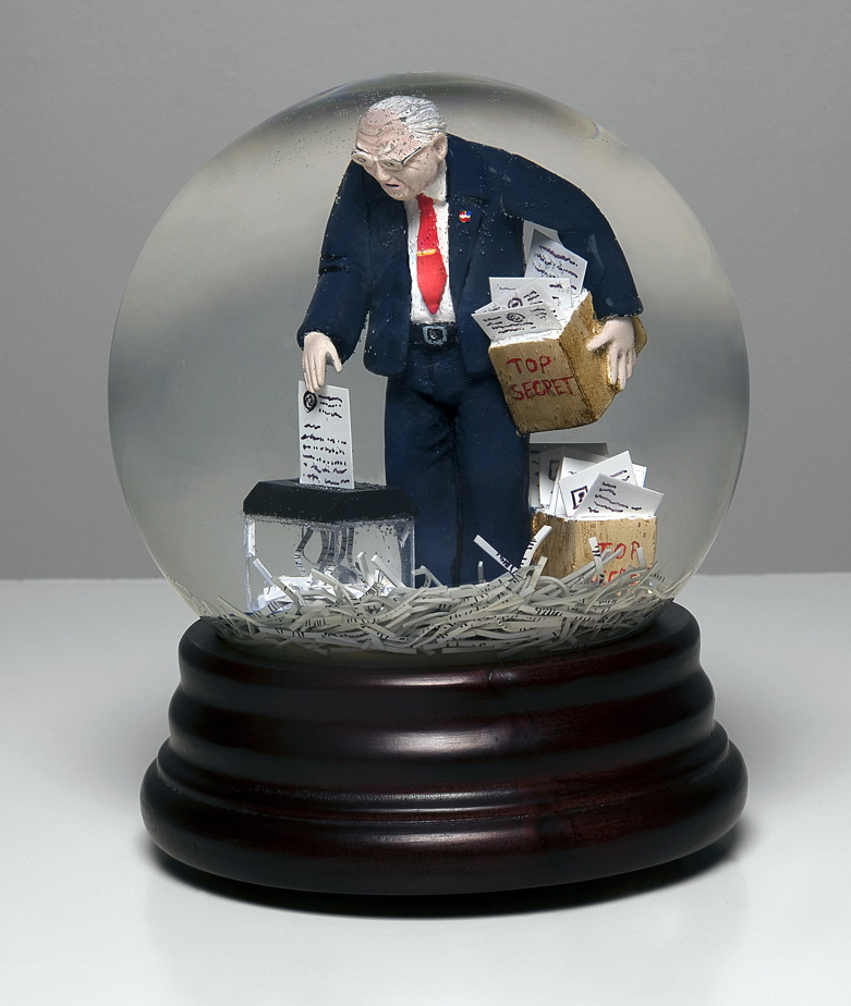 "From America the Gift Shop: Dick Cheney shredding secret documents. Snow globe, 6"", 2008  © Phillip Toledano"
