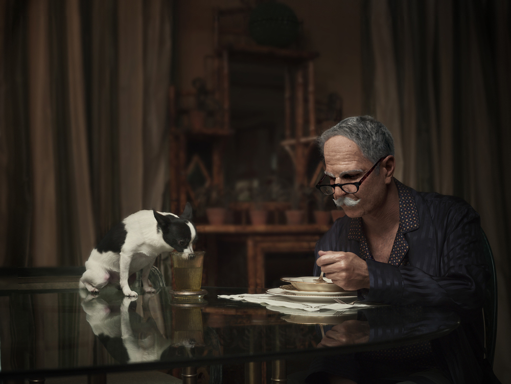 "From ""Maybe"" which became the documentary   ""The Many Sad Fates of Mr. Toledano."" Old Phil with dog. © Phillip Toledano"