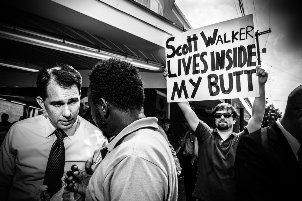 Scott Walker on the campaign trail in Philadelphia. © Mark Peterson/ReduxPictures