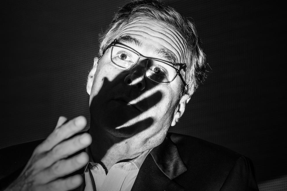 Politics in Black & White:   Jeb Bush; talk to the hand. © Mark Peterson/   ReduxPictures