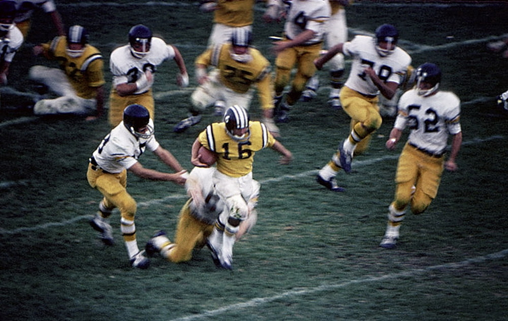 In the beginning: Dave Lanahao runs 99 yards from scrimmage.  (Colorado College vs Colorado Mines) 1967. © 2015 David Burnett/Contact Press Images