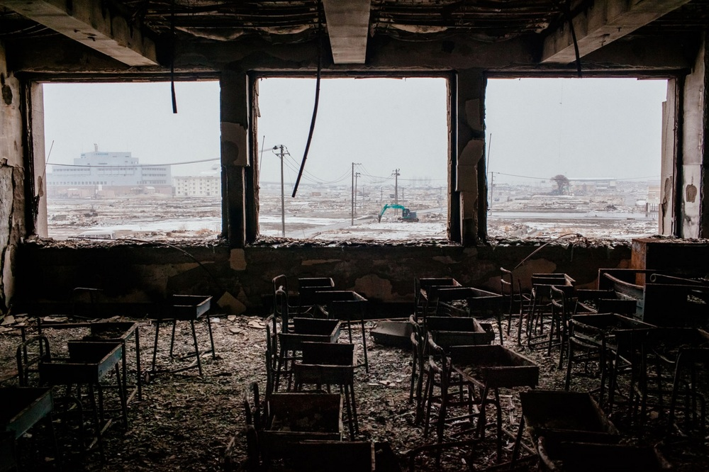 Chairs are strewn in a classroom of the Kadonowaki Elementary School in Ishinomaki, Japan. As the one-year anniversary approaches, the areas most affected by an earthquake and subsequent tsunami that left 15,848 dead and 3,305 missing, according to Japan's National Police Agency, continue to struggle.  March 2, 2012 © Daniel Berehulak/Getty Images