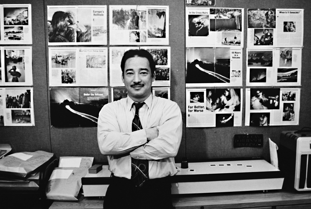 Photo Journals on the wall behind me at Newsweek magazine in the 1990's; where the name was born. © David Berkwitz