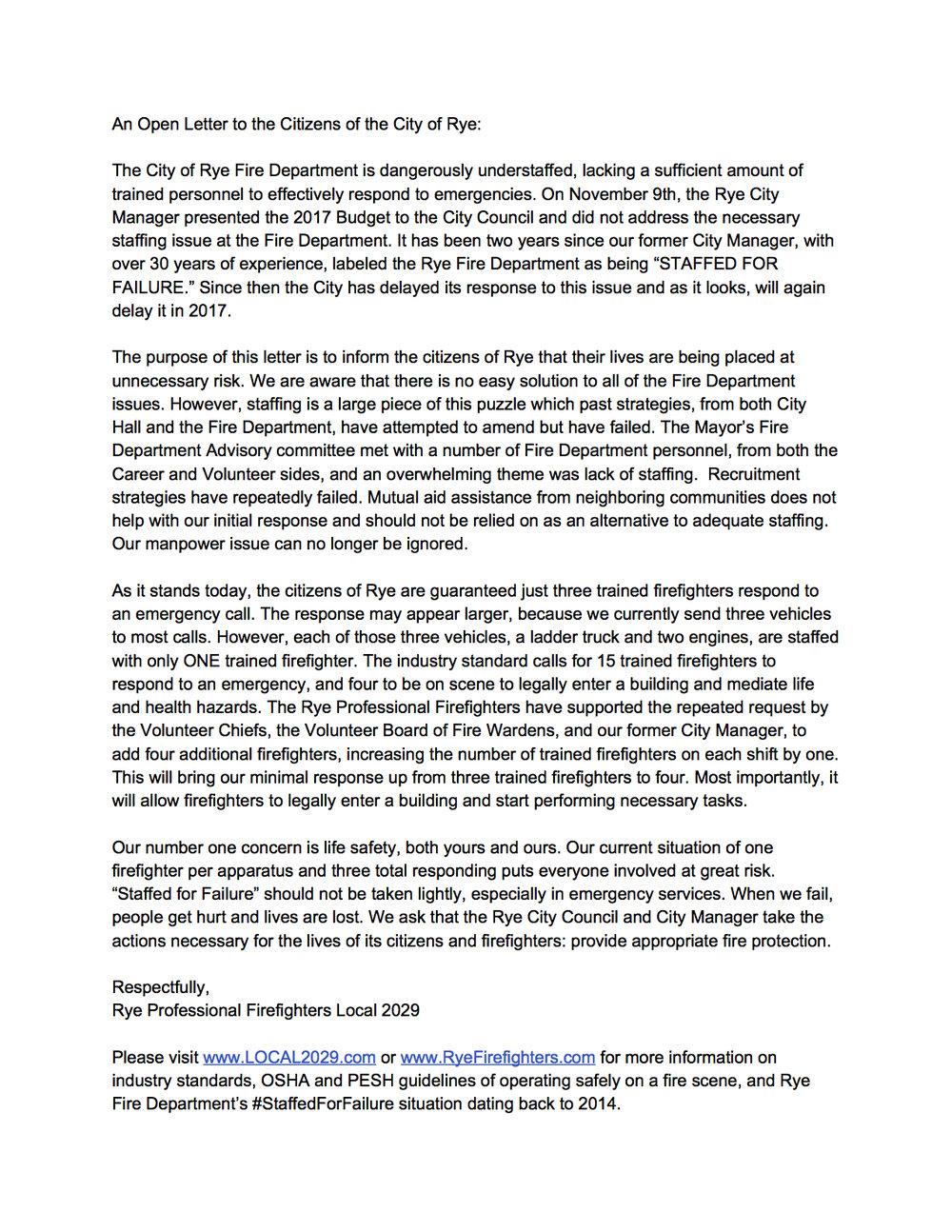 #StaffedforFailure — Rye Professional Firefighters Local 2029
