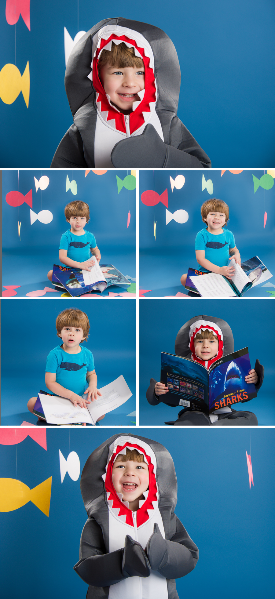 I love portraits and photographs with a sense of humor.  There is something silly about a toddler in a shark costume, reading a shark book, right?