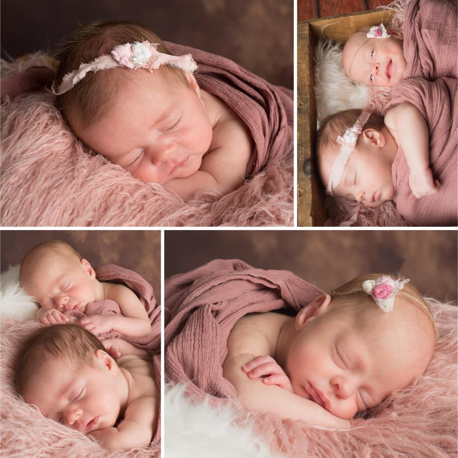 Smiling newborn twin photos