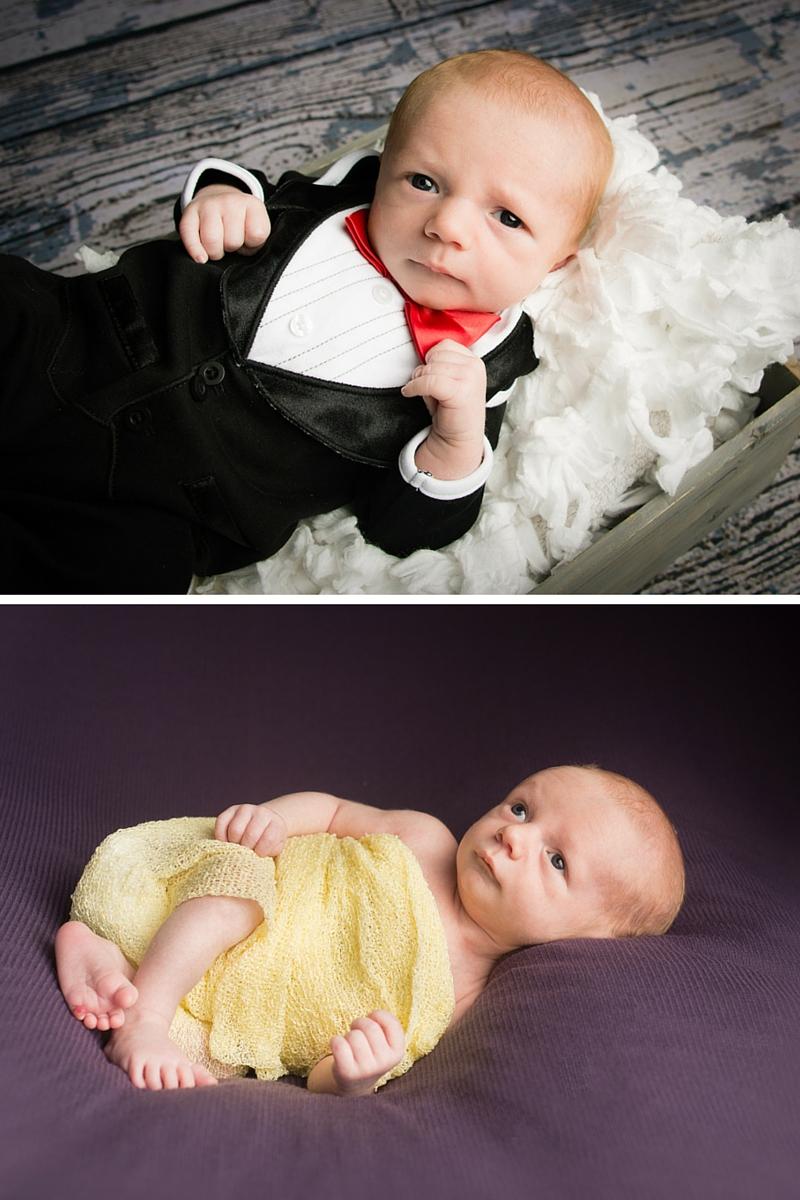 cleveland newborn in a tuxedo