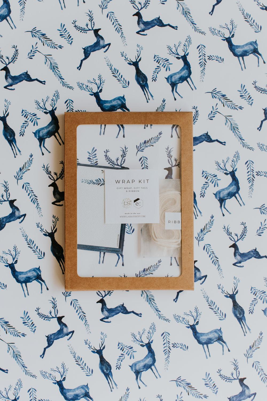 Lana's shop exclusive reindeer gift wrap. -