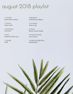 august 2018 playlist  — elizabeth carberry