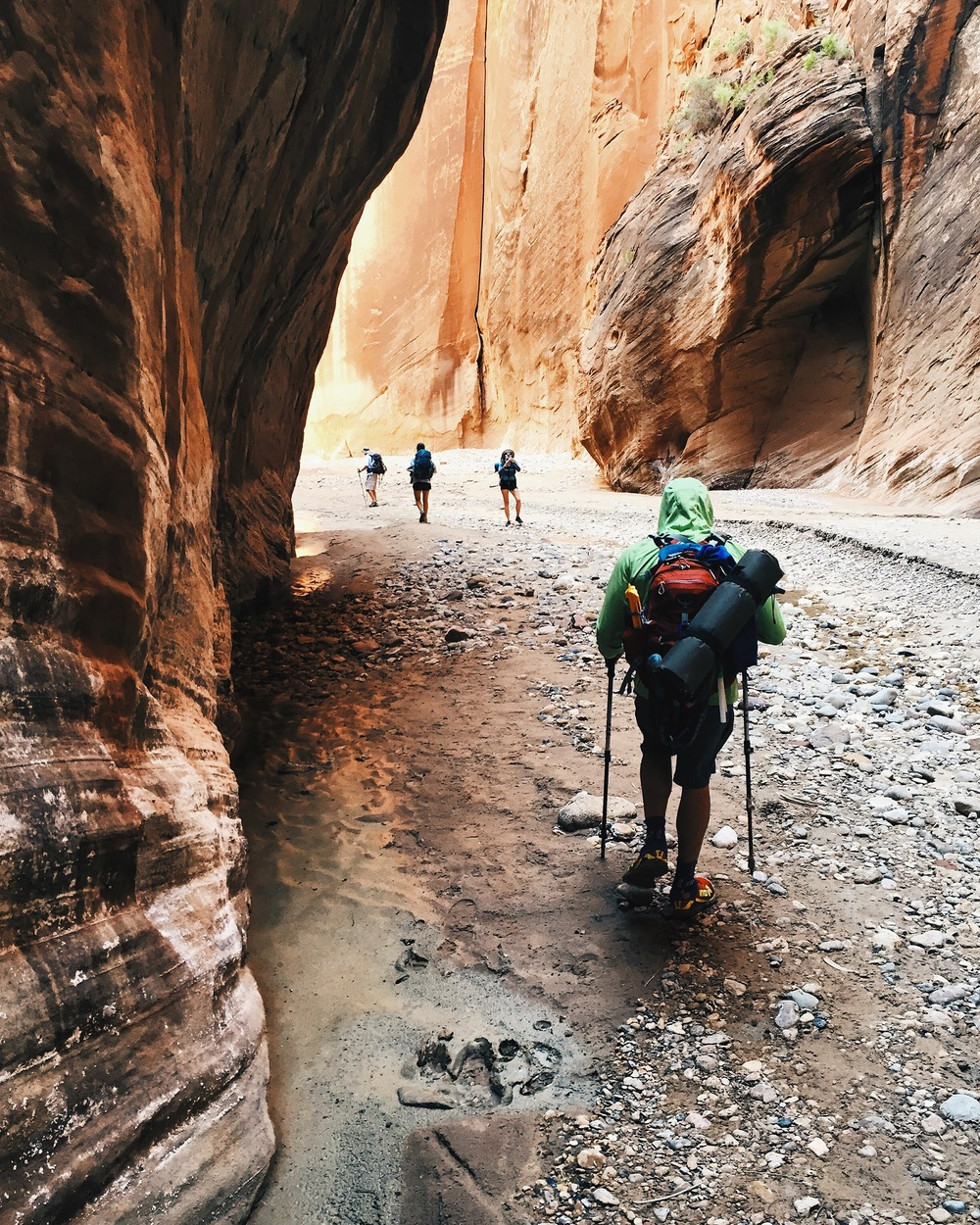 Hiking through the confluence just past Buckskin in Paria Canyon.