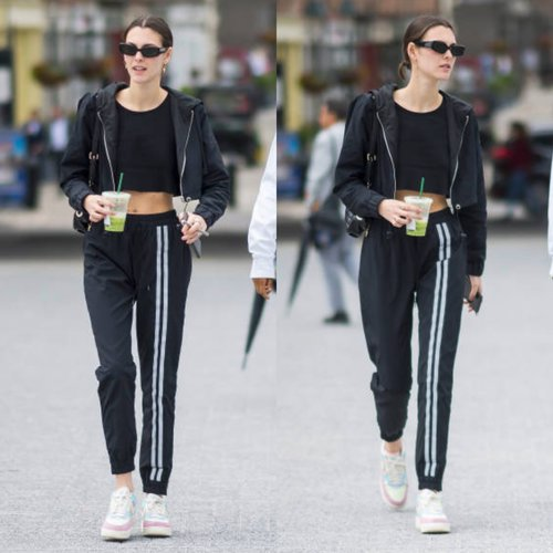 VITTORIA CERETTI IN NYLON CROPPED HOODIE + DOUBLE STRIPE NYLON TRACKPANT  //  JUNE 2018