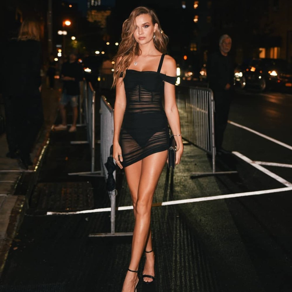 JOSEPHINE SKRIVER IN LYNX RUCHED DRESS // SEPTEMBER 2018