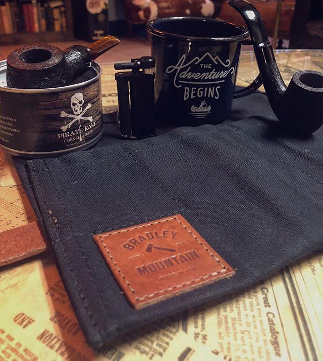 We are proudly now selling @bradleymountain pipe rolls. These are wax canvas pipe rolls all hand sown right here in the Us. It's a great way to carry around your pipes and accessories. #nashville #eastnashville #pipesmoking #pipetobacco #pipes #piperoll