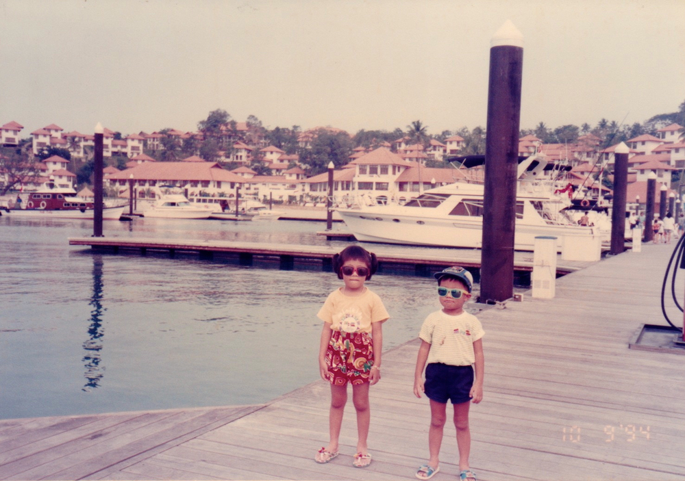 My younger brother and I hanging out at Nongsa Point Marina.