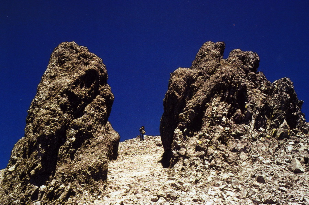 Dacite lava spines on the side of Lassen Peak
