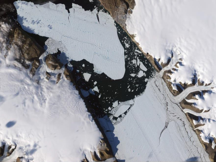 Photo by NASA of the 2010 calving event at Petermann Glacier.