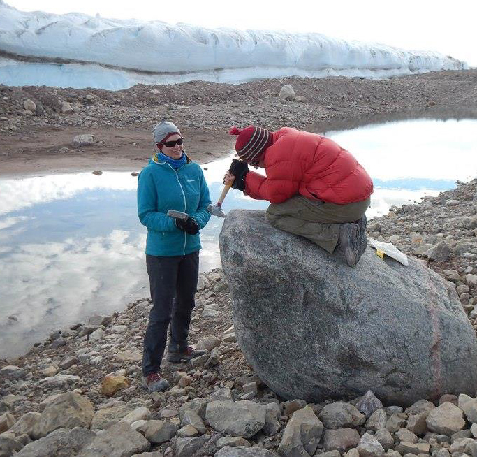 "Boulder team sampling its wares. From ""Boulder Sampling Alongside Petermann Glacier; camping logistics and lateral moraines,"" article posted on Petermann's Glacial History website by Elizabeth Ceperley and Melissa Reusche of University of Wisconsin, Madison."
