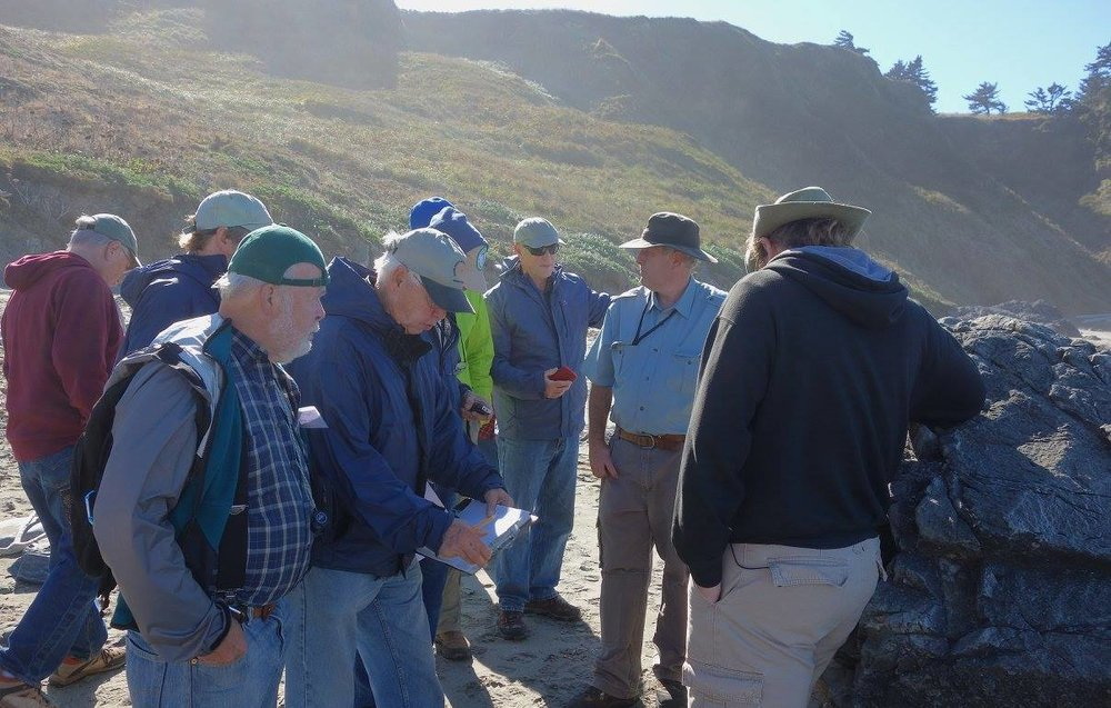 Our last stop of the day was at Cape Blanco, where we hiked down to the beach to look at more cool rocks. In the blue shirt, second from right, is our leader for the day, Frank Hladky.