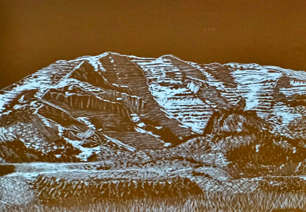 One of Mike's excellent scratchboard drawings of Steens Mountain.