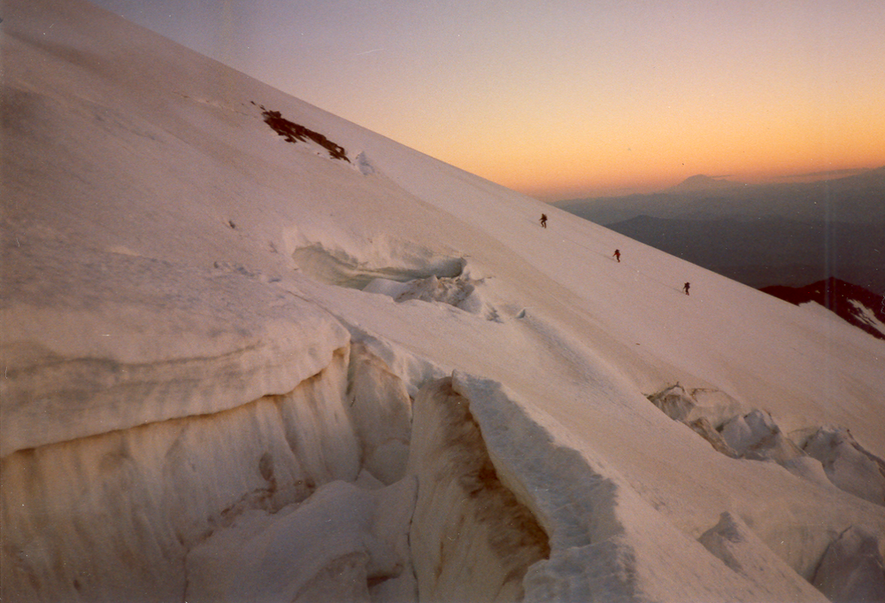 Mt. Hood — Bergschrund (crevasse) up the Cloud Cap route. All the photos from this article are by Bo Nonn.